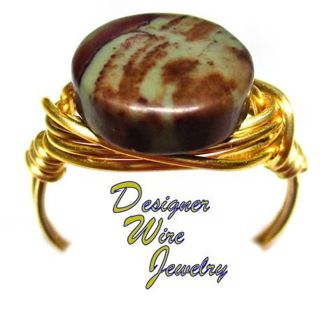Czech Art Glass River Walk Stone Coin Artisan Gold Tone Wire Wrap Ring All Sizes