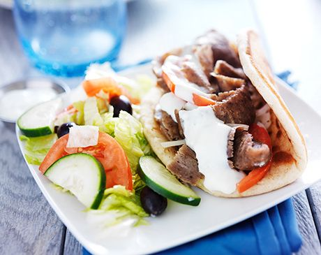 Shawarma med myntedip