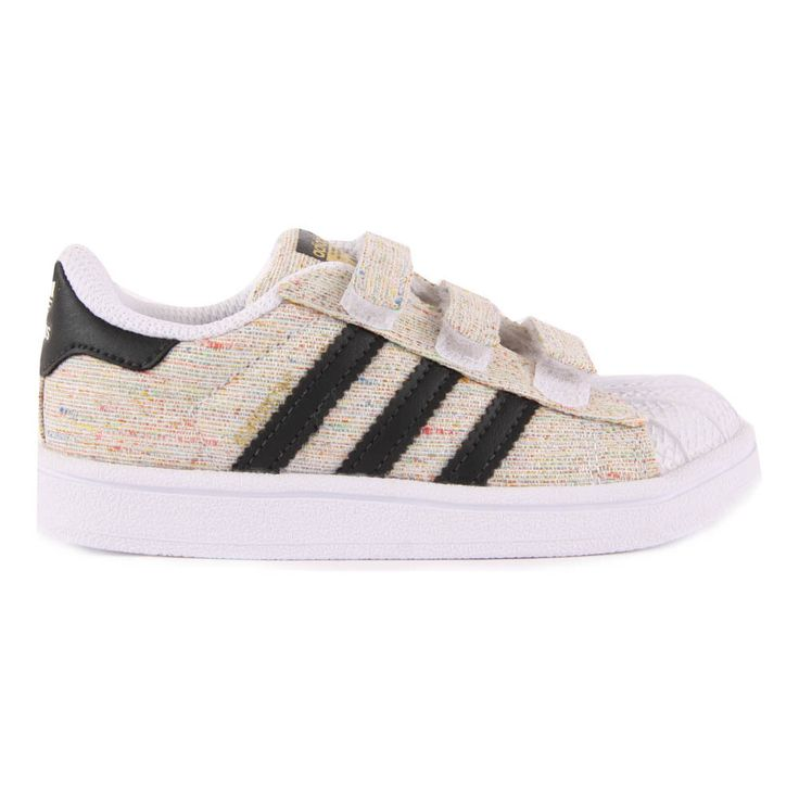 Flecked Canvas Velcro Superstar Trainers Beige Adidas Shoes Baby