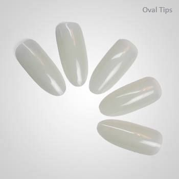 Natural color oval tips for nail art design
