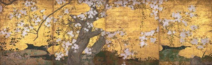 国宝 桜図壁貼付 長谷川久蔵筆  桃山・16世紀 京都・智積院10月24日~11月12日展示