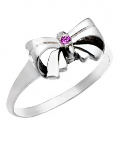 Perfectly lovely... with a bow on top! This is the prettiest classic bow ring your Giddy Aunts have ever seen.    A gorgeous ring for a little girl that will still be cherished and worn as a pinkie ring when she is all grown-up.