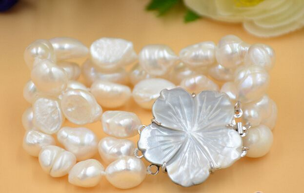 """FREE SHIPPING>>>@@ > 01221 3row 8"""" WHITE BAROQUE freshwater cultured pearl bracelet"""