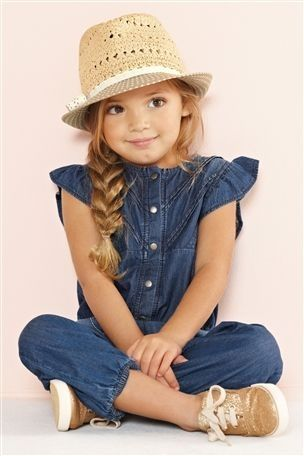 jeans jumper, gold shoes, hat. That's adorable! Good picture ideas for the future!