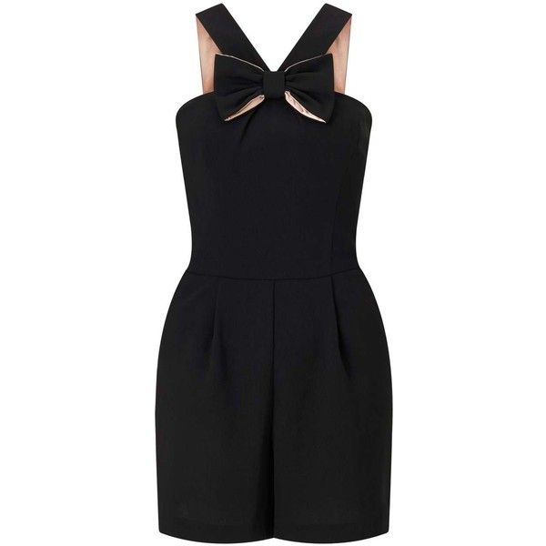 Miss Selfridge Black Bow Front Playsuit ($68) ❤ liked on Polyvore featuring jumpsuits, rompers, black, miss selfridge, playsuit romper, sleeveless romper, party rompers and going out rompers