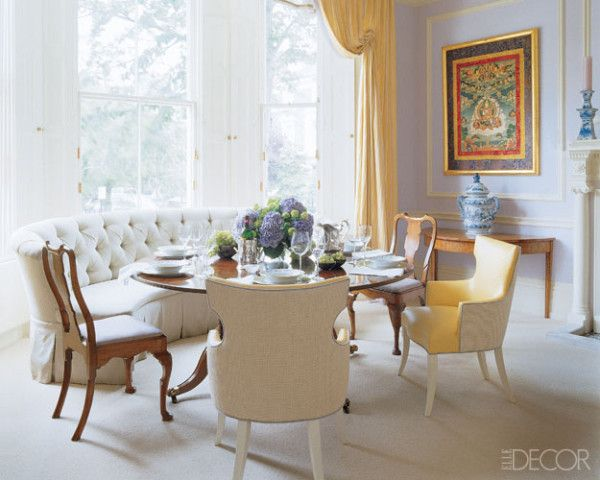 The Lacquered Lavender Dining Room Has A Pair Of Pedestal Tables, One  Paired With A Curved Sofa In The Bay Window   Jeffrey Bilhuber