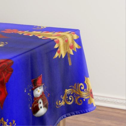Gold Christmas Decorations on Blue Tablecloth - Xmas ChristmasEve Christmas Eve Christmas merry xmas family kids gifts holidays Santa