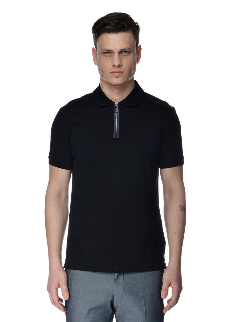 Neil Barrett - Spring Summer 2015 - Menswear // Black polo shirt with front zip fastening