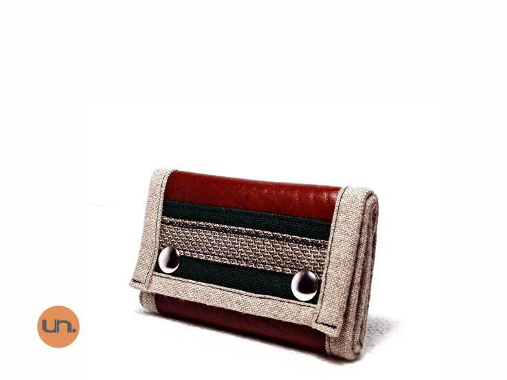 Vegan Wallet Brown Green, Slim Wallet, Thin Wallet, Small Wallet UNUSUAL with Coin Pocket, Card Holder - Handmade Custom Order - pinned by pin4etsy.com