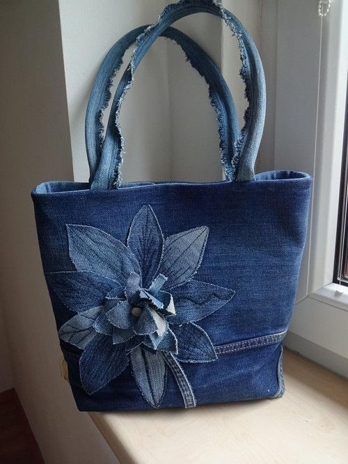 very interesting upcycled denim applique bag by alexandria