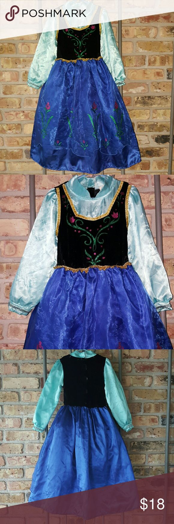 Cool Baby Ana dress Ana costume play dress. Has petticoat underneath skirt. Velvet top. Sheer overlay on skirt. Arms are snagged up from pulling on and off. Well loved, but body is in great condition. Cool Baby Dresses