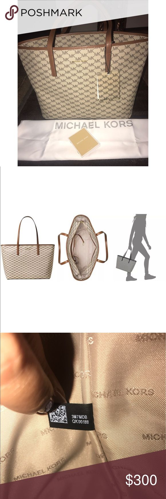 """New Signature Michael Kors Lrg Emry Tote NWT Originally $328.00 - Large Emry tote bag, purse, nwt, perfect size for carry on while traveling. Feel free to ask questions!  17""""L x 11.5""""H x 7""""W Double leather handles  ( 10"""" drop)  Gorgeous durable PVC MK monogram with leather trim Polished gold hardware & buckle accents  Signature MK logo at front Michael Kors logo lining  Cellphone/multi-function pockets Ring to clip an accessory/key/FOB  Care Instructions card Original MK price tag Dust bag…"""