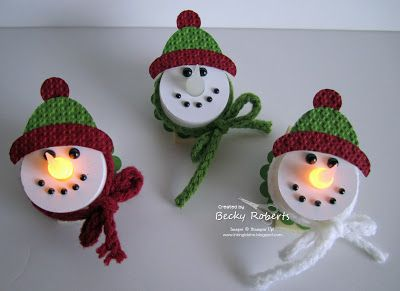 Snowman Lights. Battery tea lights with magnet on the back.