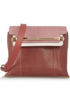 Chloé Clare small python and leather shoulder bag | NET-A-PORTER
