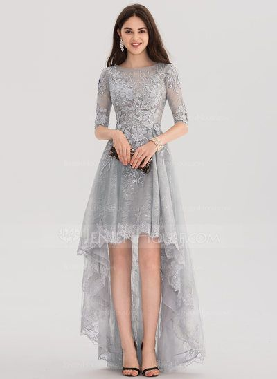51132072bb954 A-Line/Princess Scoop Neck Asymmetrical Tulle Lace Prom Dresses ...
