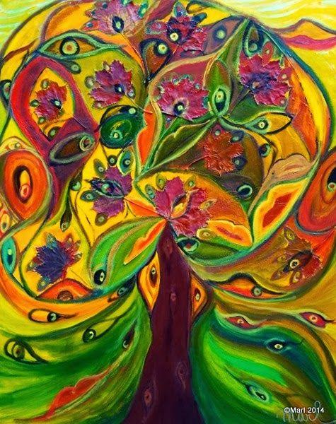 Kom binnen in de Kunstgalerie van Marl.Decoratieve schilderijen: 09-060 Stamboom