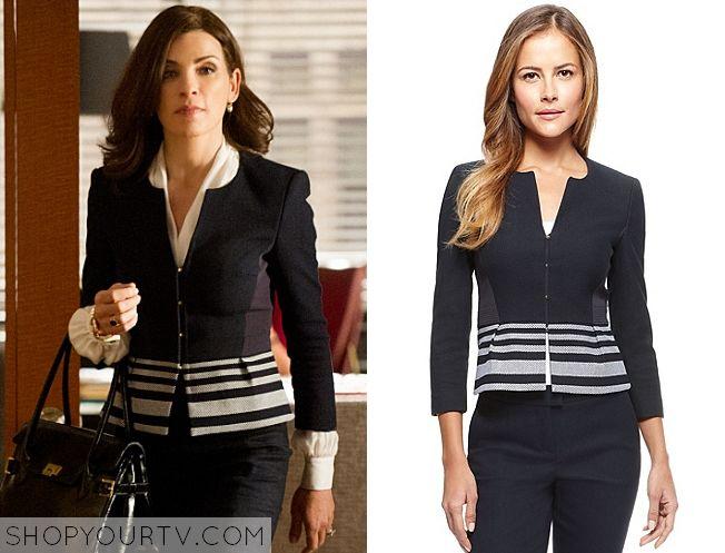 The Good Wife: Season 6 Episode 1 Alicia's Navy Striped Jacket |