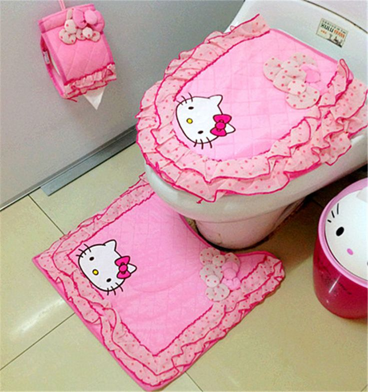 Tapetes Estera Tapa Del Inodoro de Baño Decoración Del Hogar Lindo de la Historieta Hello Kitty Alfombra de Baño Ultra Suave Cubierta de Asiento de 3 Unidades de(China (Mainland))