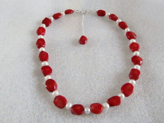 Genuine Pearl and Coral Necklace by WearMyJewellery on Etsy, £15.00