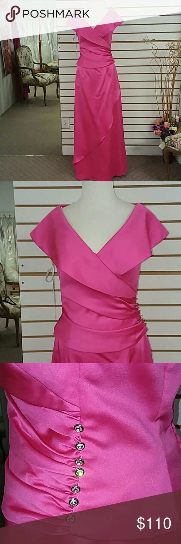 """FUCHSIA color Alfred Angelo 2pc MOB NWT Alfred Angelo 2 pc dress top 6572, skirt MSKTGZ Retail $241 Color: Fuchsia Fabric: Satin with rhinestone button embellishment at fitted waist - does have elastic in back of skirt waistband Size 10 both pieces  Bust 37"""", Waist 30"""", Hip 40.5"""" Condition: Sample dress from bridal shop. May have been tried on but not worn. Alfred Angelo Dresses Maxi"""