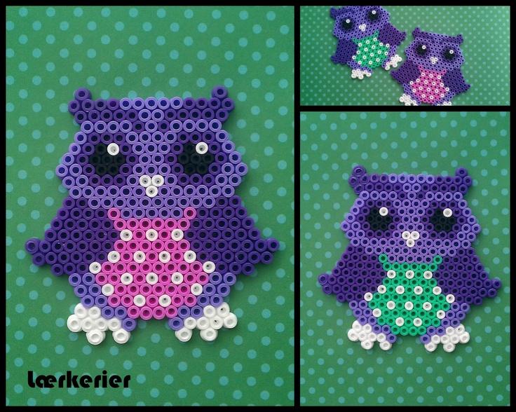 Lærkerier: ugle owl hama beads