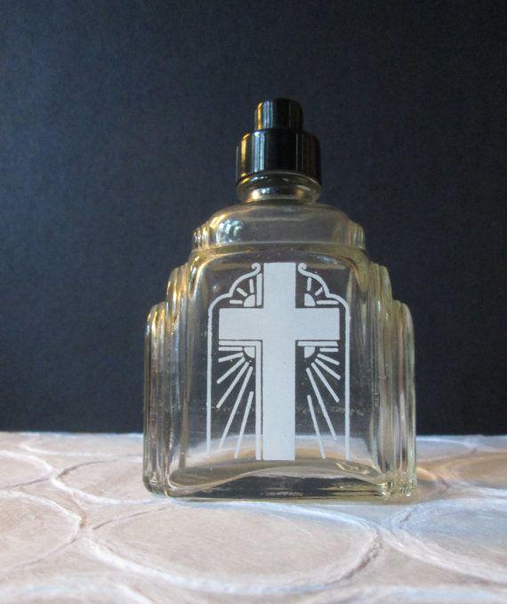 Vintage Holy Water Container by Knox Glass Art Deco Enamel Cross Bakelite Top