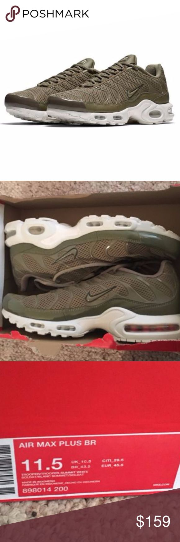 Nike Air Max Plus Breeze Khaki Sneakers 11.5 New in box but lid of box missing. Hard to find and sought after color way. Many are selling for $200+  Mens size 11.5 Nike Air Max Plus Breeze Cargo Khaki 898014-200 Men's Sneakers Shoes sz 11.5. Nike Shoes Sn http://feedproxy.google.com/fashiongoshoes