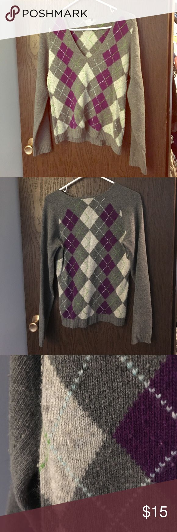 J. Crew argyle sweater J crew v neck argyle sweater. Adorable purple and gray pattern. Has some pilling on front and under arms. 40% merino wool, 30% viscose, 20% angora rabbit hair 10% cashmere J. Crew Sweaters V-Necks