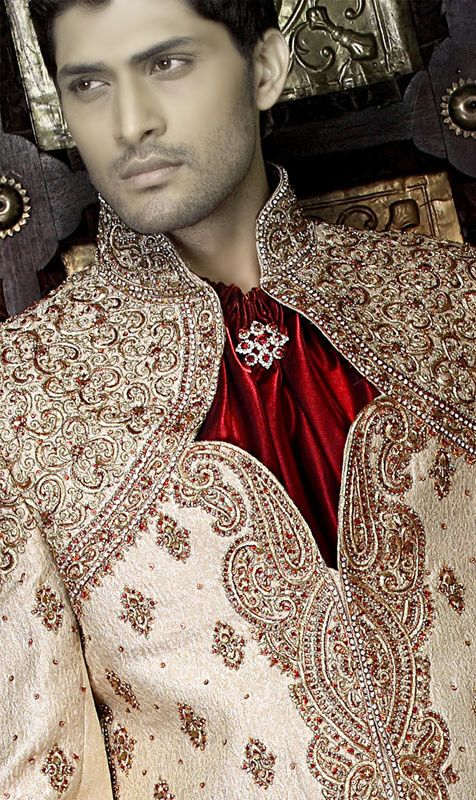 Red, Gold & Maroon Mens Sherwani Wedding Suit