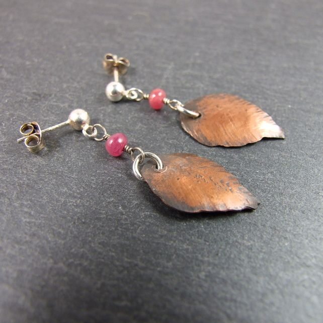 Earrings, Artisan Leaf Copper with Sterling Silver and Ruby £14.00