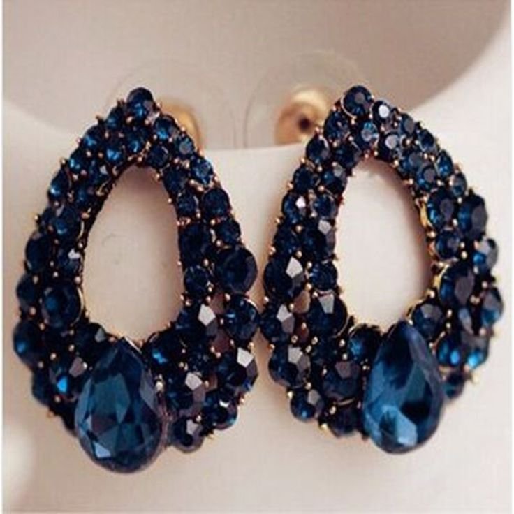 2015 Natural stone fashion black Blue big earrings jewelry Brincos gold sapphire earrings For girls summer style pendientes * Click on the VISIT button to see this great product.