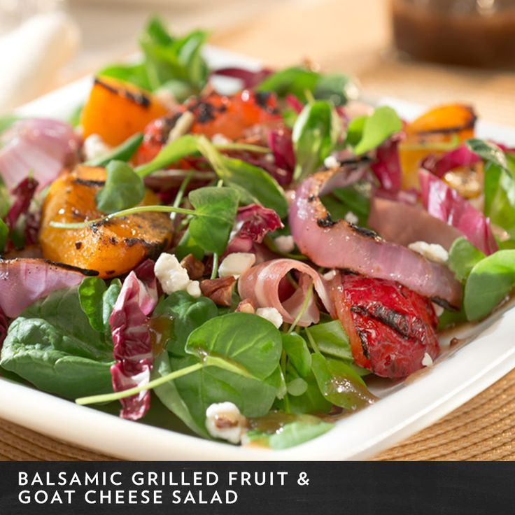 Balsamic Grilled Fruit & Goat Cheese Salad will dress up any late ...