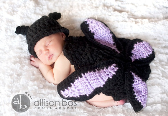 Butterfly crocheted baby outfit