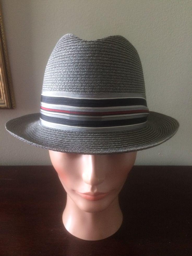 Mens Gray Dobbs Sabre Straw Fedora Hat by LottieDottieVintage on Etsy