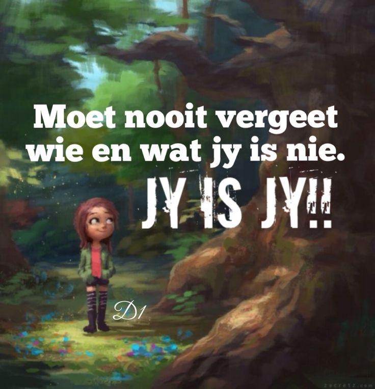 Moet nooit vergeet wie en wat jy is nie. Jy is JY!!