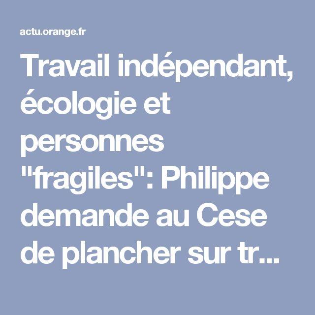 """Travail indépendant, écologie et personnes """"fragiles"""": Philippe demande au Cese de plancher sur trois sujets"""