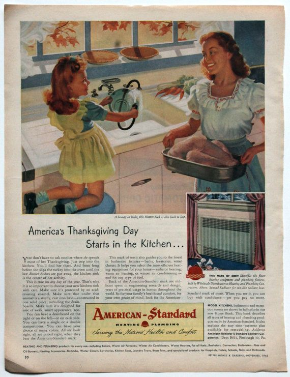 Vintage 1946 Ad Thanksgiving Kitchen Sink Kelvinator American Standard Fall