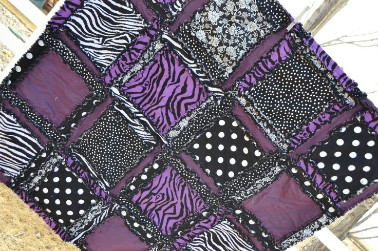 purple and black baby quilt | RAG QUILT Purple Black Zebra Girl Rockstar by avisiontoremember