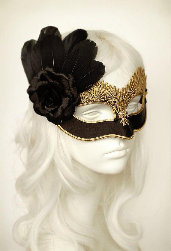 Pizzo nero & oro maschera maschera di Halloween di di SOFFITTA