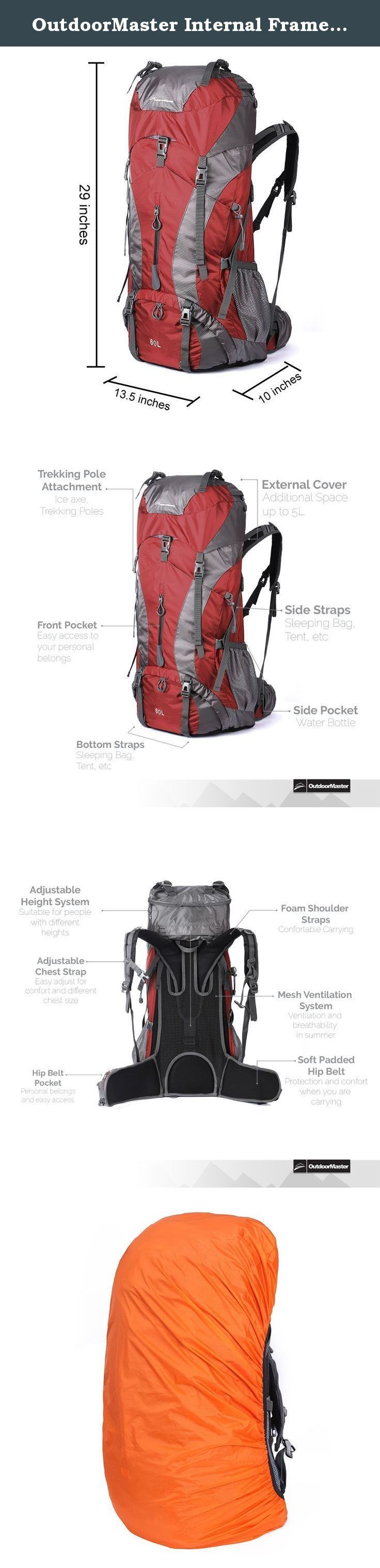 OutdoorMaster Internal Frame Hiking Backpack 60L with Waterproof Cover (Red). Very Spacious Hiking Backpack The Outdoormaster 60L is a spacious 60L backpack for outdoor sports and hiking. This bag can easily hold all your hiking essentials when you're in the outdoors. Internal Frame The internal frame consists out of 2 aluminum strips which disperse the weight equally over your shoulders and hips. Adjustable Strap Height The OutdoorMaster 60L hiking backpack is equipped with an adjustable...