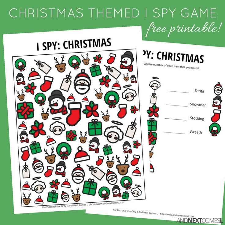 Free Christmas themed I Spy game for kids from And Next Comes L More