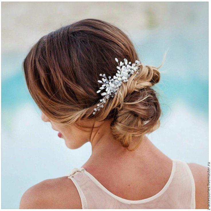 Купить Гребень из хрусталя и перламутра - белый, свадебное украшение, свадебные аксессуары, украшение для волос