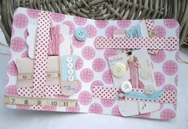 Tilda Sewing Kit made by me for I Love Pretty Things - inspired by the Tilda's Spring Ideas Book (inside) includes 2 cotton reels, button card and needle case with Tilda Fabric. Includes buttons and cotton