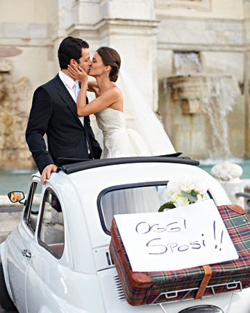 30 Wedding Getaway Car Ideas  This photo is   The Italian Way The couple, in a rented Fiat, braked for photos in front of a fountain on Rome's Gianicolo hill.
