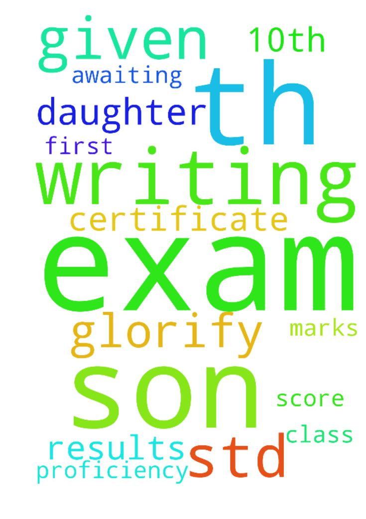 Please pray for my son writing 10th exam, he should - Please pray for my son writing 10th exam, he should score first class marks and my daughter given her 4th std exams, awaiting her results should get proficiency certificate and glorify god Posted at: https://prayerrequest.com/t/Afs #pray #prayer #request #prayerrequest