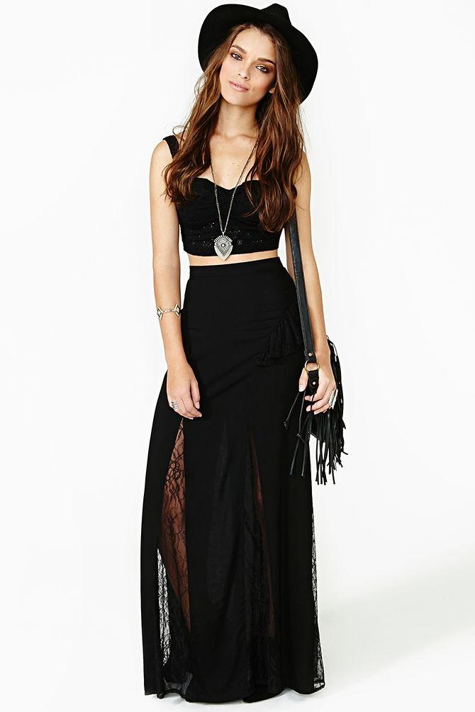 Black Magic Woman Maxi Skirt http://www.nastygal.com/clothes-bottoms-skirts/black-magic-woman-maxi-skirt
