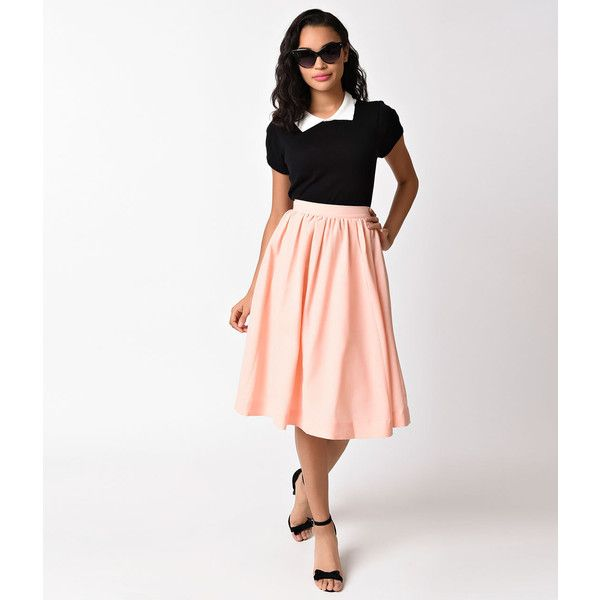 Vintage Style Blush Pink High Waist Swing Skirt ($46) ❤ liked on Polyvore featuring skirts, pink, white a line skirt, pink a line skirt, high waisted skater skirt, white flared skirt and white high waisted skirt