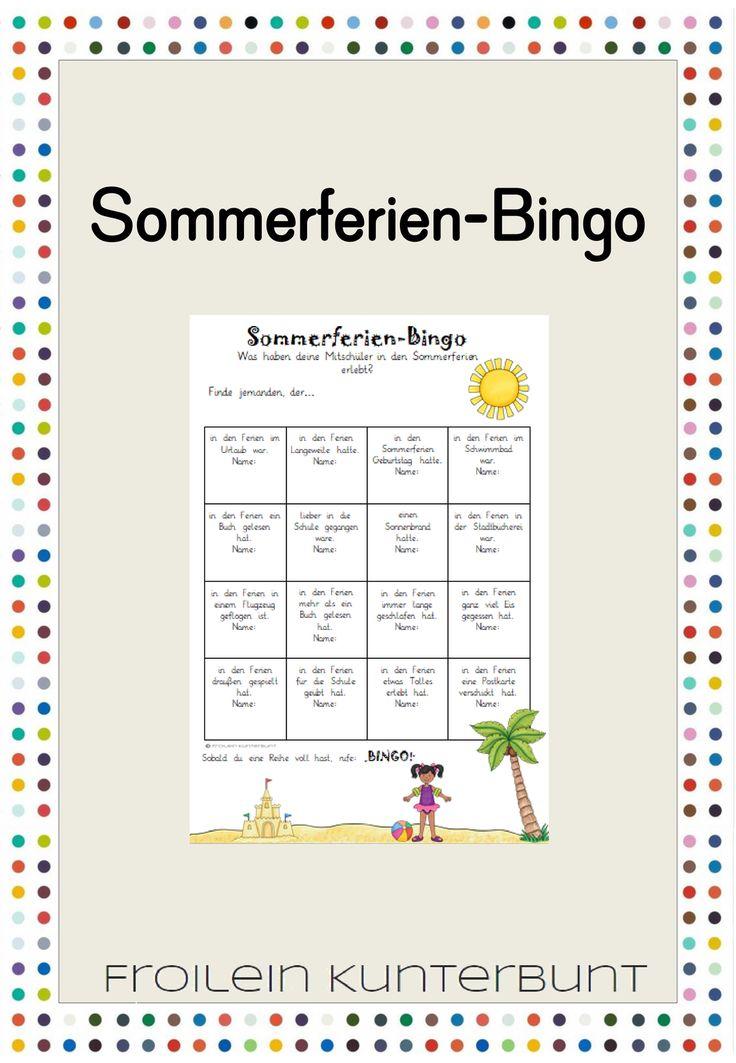 Sommerferien-Bingo - Unterrichtsmaterial im Fach