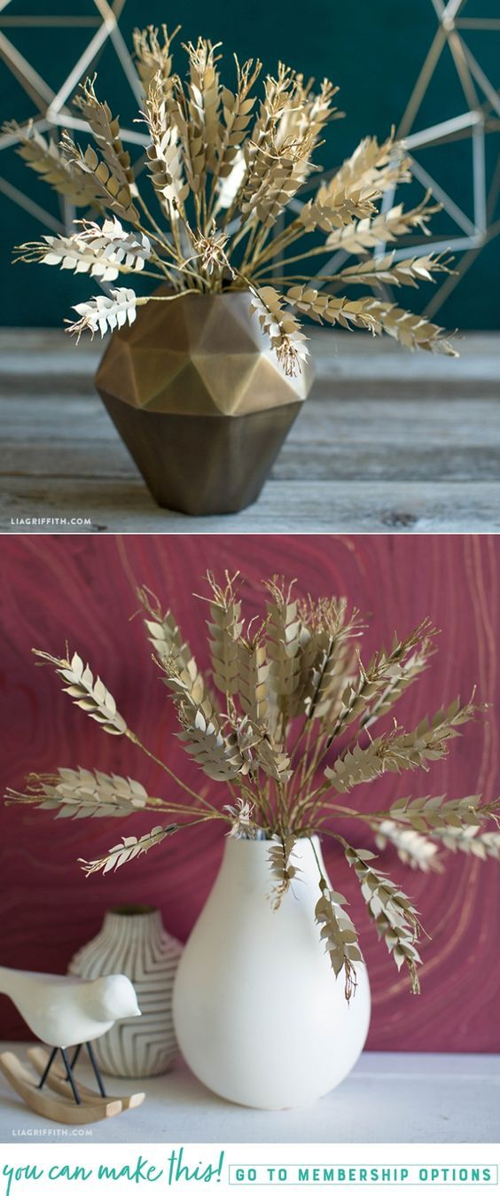 Frosted and Crepe Paper Wheat - www.liagriffith.com #diyinspiration #diyidea #diyideas #diyproject #diyprojects #paperart #papercut #madewithlia