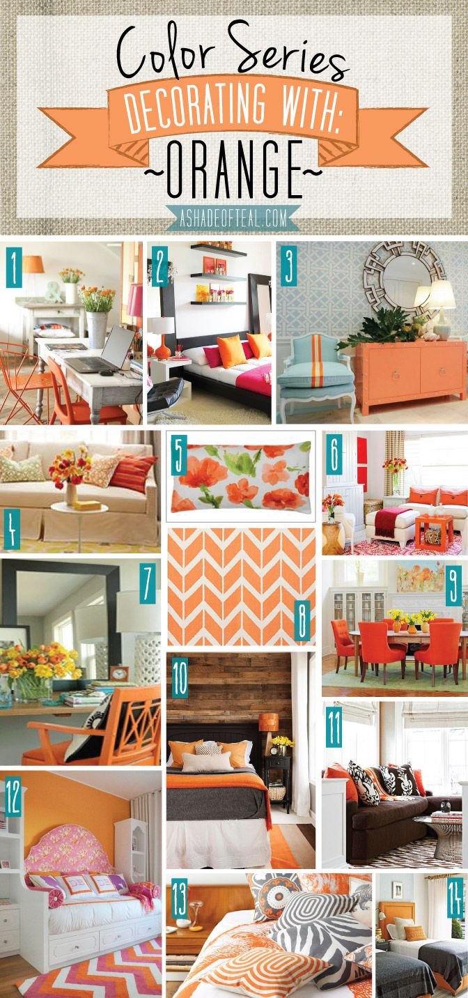 color series; decorating with orange | orange orange, teal and